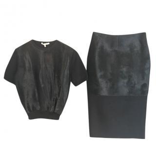Victoria Beckham calf hair skirt and top set