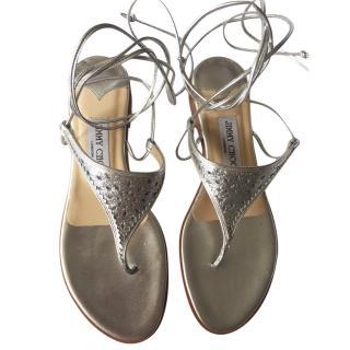 Jimmy Choo silver glitter toe-post flat sandals