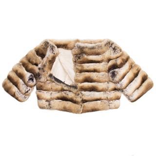 Prada chinchilla boat neck cropped jacket