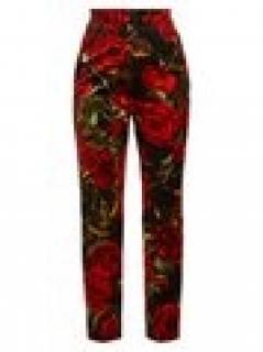 Dolce & Gabbana Rose-print velvet trousers