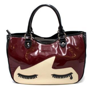 Lulu Guinness Black Cherry Crying Doll Face Small Wanda Bag