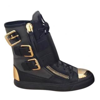 Guiseppe  Zanotti Black and Gold Metal Plate Boots