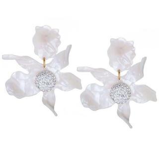 Lele Sadoughi Mother of pearl Crystal Lily Flower Petal Drop Earrings