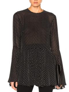Rosetta Getty Black Flocked Flare Cuff Peplum Top Dress