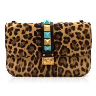 Valentino Leopard Print Pony Hair Shoulder Bag