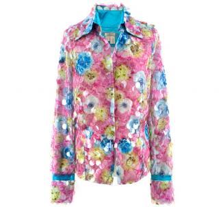 Voyage Vintage Floral Oversized Sequin Silk Shirt