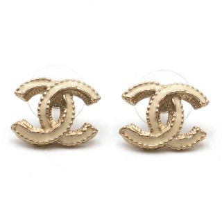 Chanel Cream Enamel CC Stud Earrings