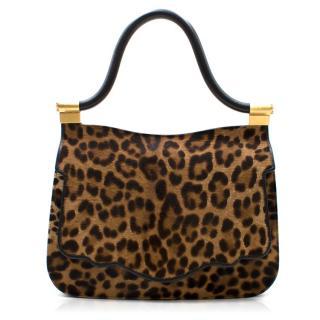 Thale Blanc Leopard Print Pony Hair Shoulder Bag