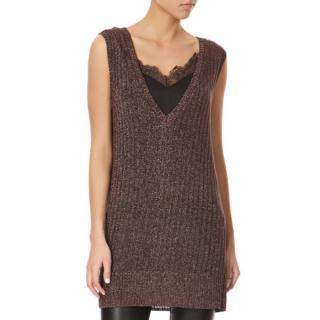 Amanda Wakeley Brown Metallic Knitted Tank Top