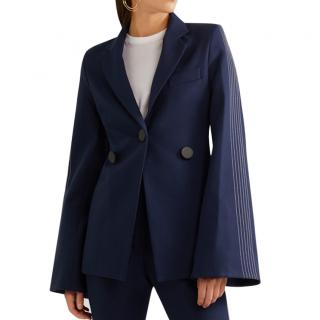 Ellery Saratoga Navy Wool Mix Fluted Stitch Sleeve Jacket