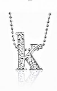 Alex Woo 14k White Gold and Diamond Initial Necklace