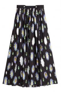 Kenzo black printed skirt with pleats