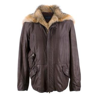 Ermanno Scervino Brown Leather & Fox Fur Trim Coat