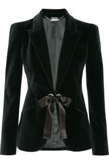 Alexander McQueen ribbon tie dark green velvet jacket  Size 42