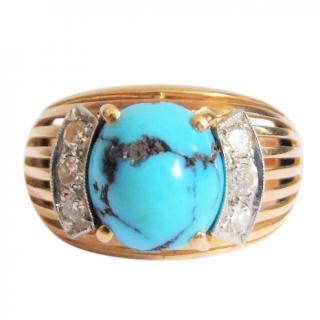 Bespoke 18ct gold, diamond & turquoise ring