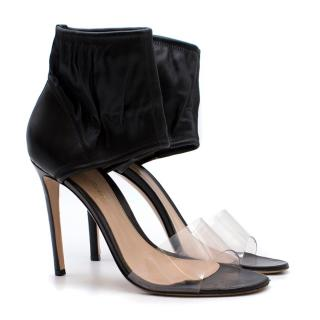 Gianvito Rossi Leather Ankle Cuff Lucite Heeled Sandals