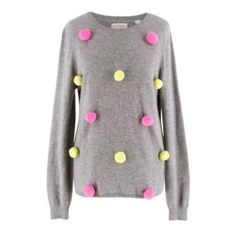Chinti and Parker Grey Cashmere PomPom Jumper