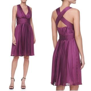 Halston Heritage pleaded chiffon cocktail dress