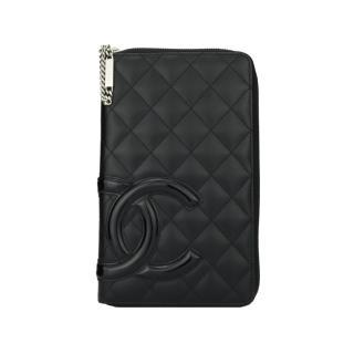 CHANEL Black Calfskin Cambon Zip Long Wallet