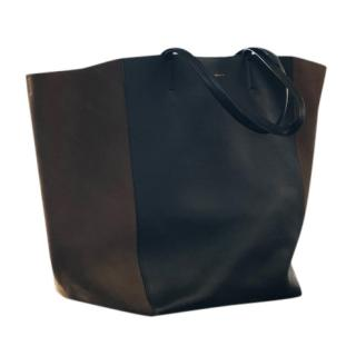 Celine Cabas Phantom Black and Olive Leather Tote