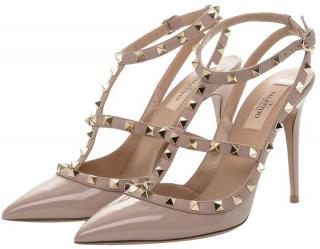 Valentino Patent Nude Rockstud Leather Sandals