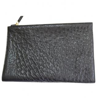 Zagliani black ostrich clutch bag