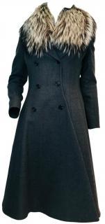 Christian Dior Wool Coat with Fox Fur Collar