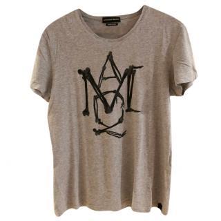 Alexander McQueen Marl Grey Monogram Cotton Jersey T-Shirt