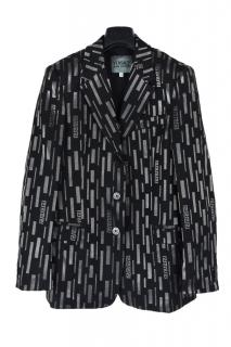 Versace Jean Couture abstract print single breasted jacket