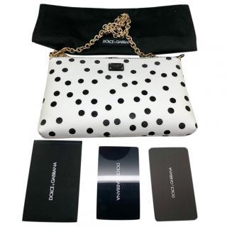 Dolce & Gabbana leather white polka dot shoulder bag/clutch