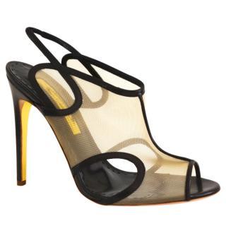 Rupert Sanderson Leather/Mesh Black Heel Sandals