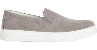Prada mens grey suede slip on loafers