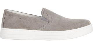 Prada mens grey suede slip on loafers