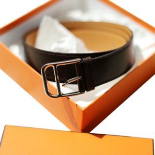 Hermes dark brown leather belt