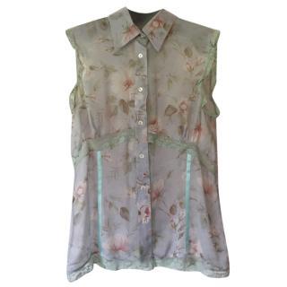 D&G Silk Sleeveless Floral Blouse