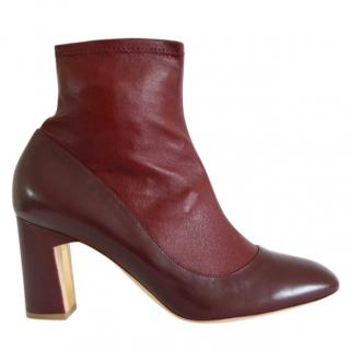 Rupert SandersonTamora Burgundy Leather Sock Ankle Boots