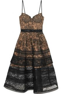Self Portrait tiered paneled guipure lace dress