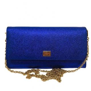 Dolce & Gabbana Blue Metallic Sicily Clutch Bag