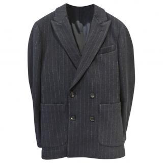 Dolce & Gabbanna Cashmere Blue Chalkstripe Double Breasted Blazer
