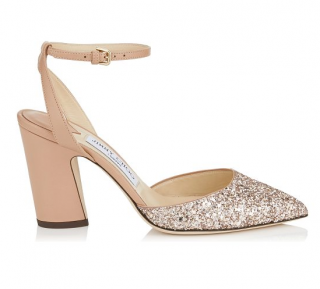 Jimmy Choo Micky 85 leather and glitter sandals