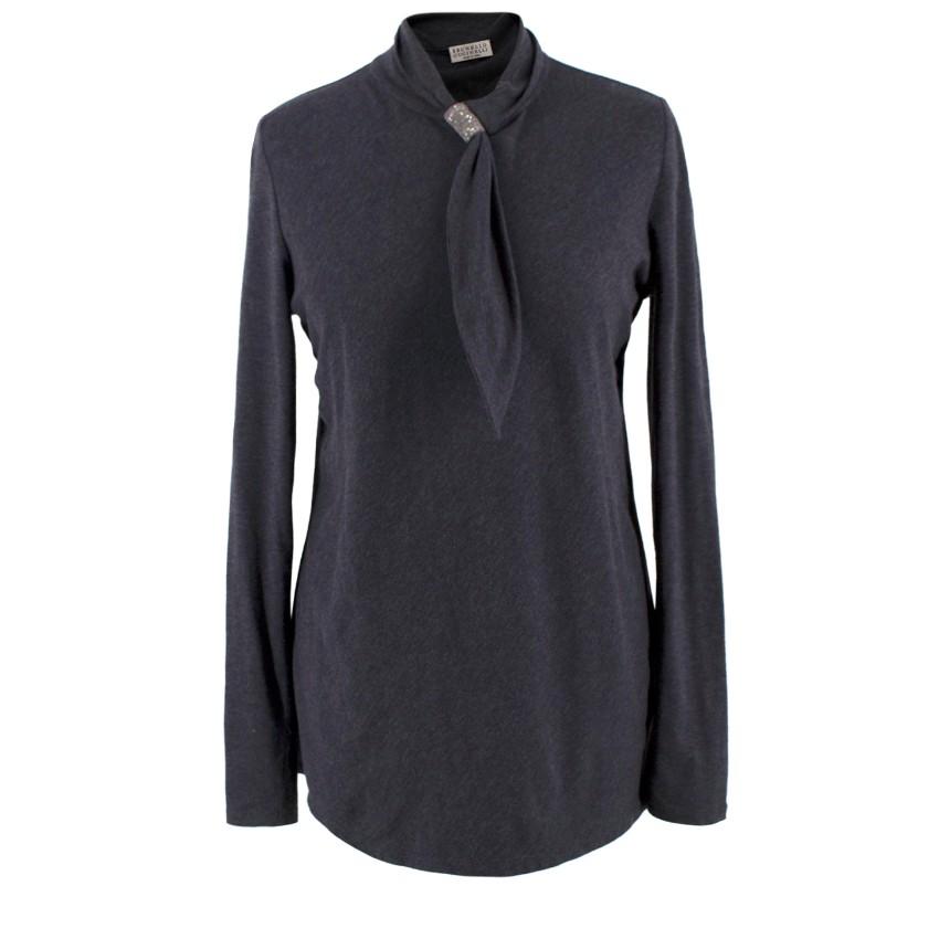 Brunello Cucinelli Grey Long Sleeved Neck-tie Top