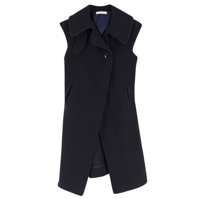 Celine Navy Wool Sleeveless Coat