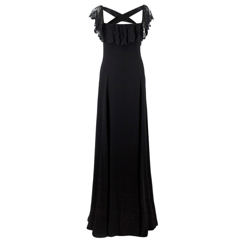 Valentino Black Lace Ribbon Tie Gown | HEWI London