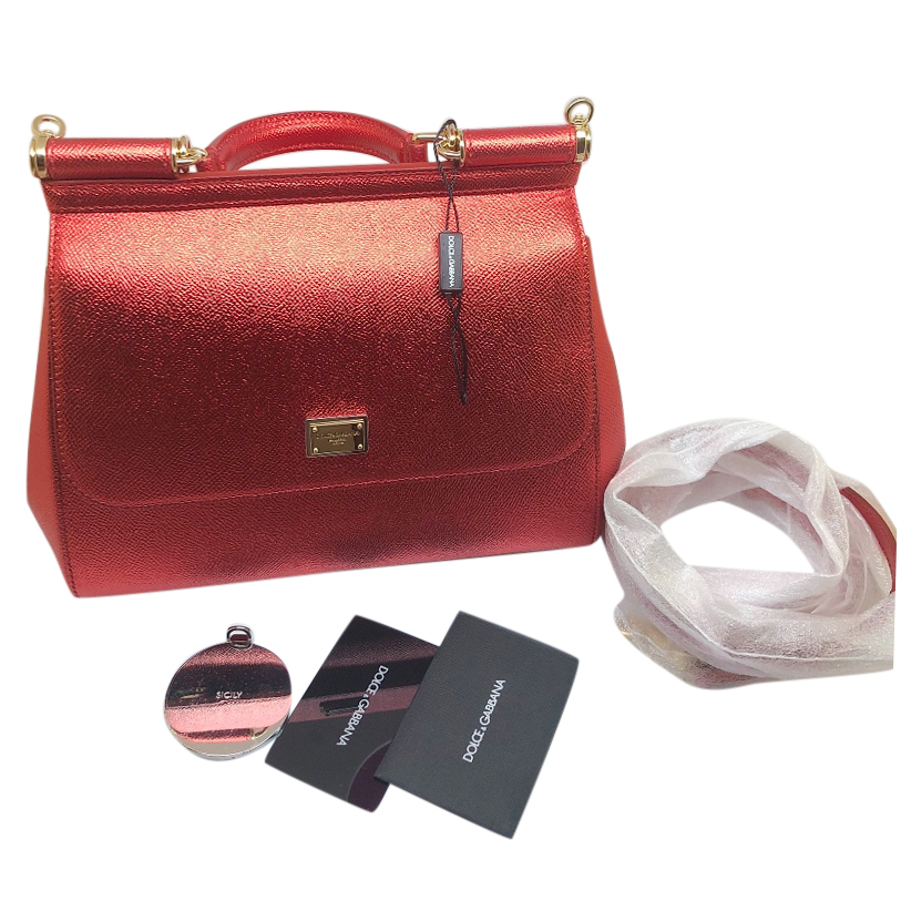 4d344038f77a Dolce Gabbana Metallic Red Sicily Bag