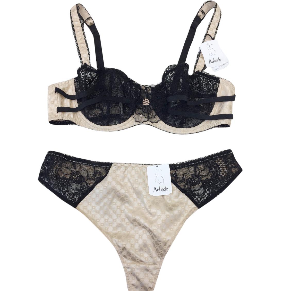 4b214f45bd Aubade Pearl Satin Jacquard Black Lace Underwired Bra Tanga Set ...