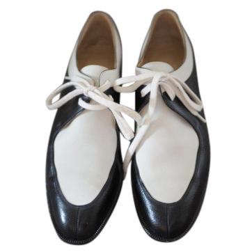 Hermes Black & White Vintage Leather Derbies