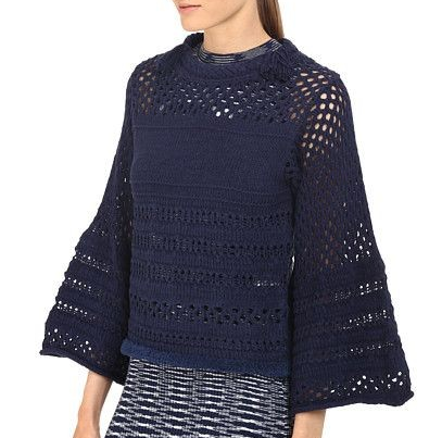 See by Chloe Navy open mesh stitch sweater