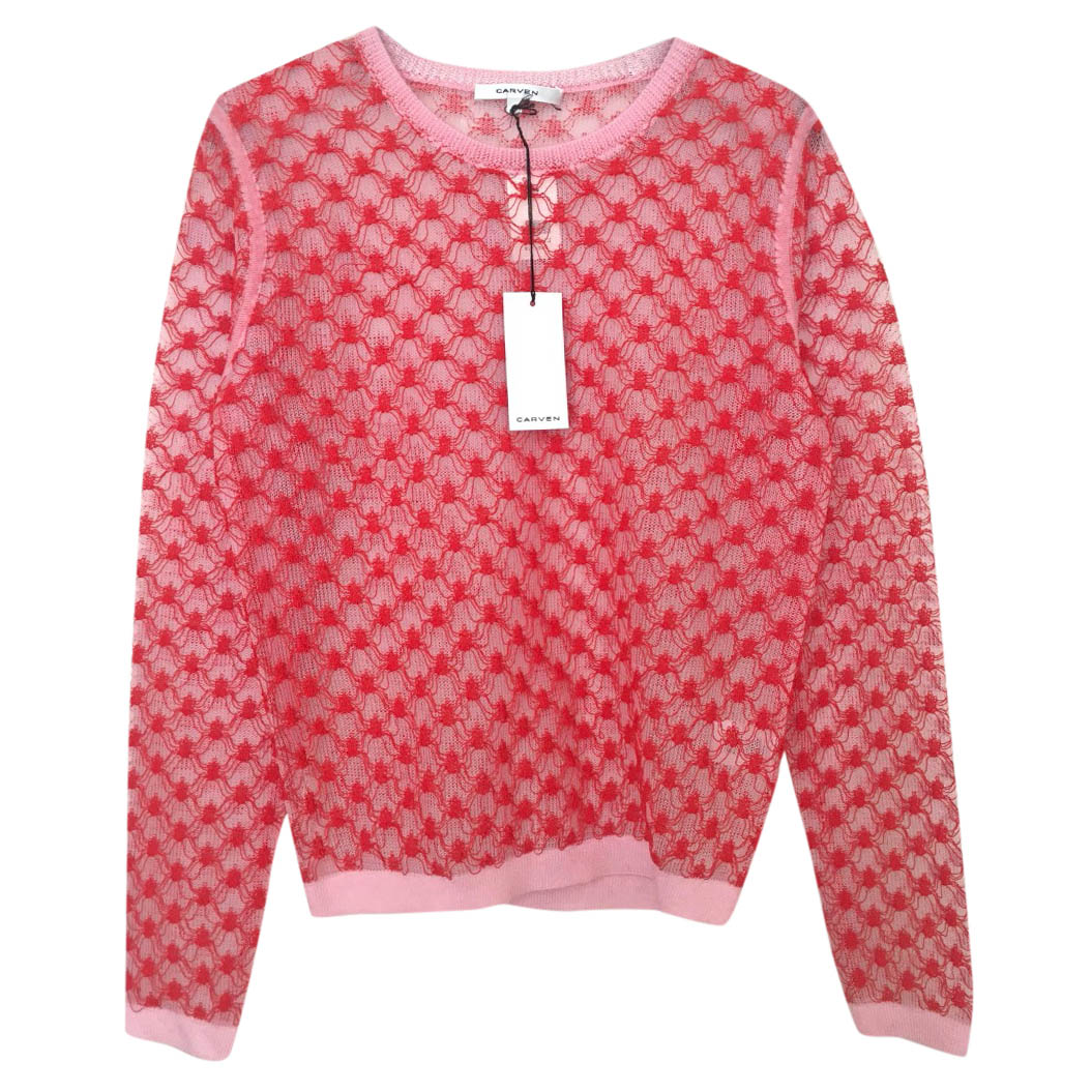 Carven Pink and Red Beautiful Intricate Stitch Sweater Jumper