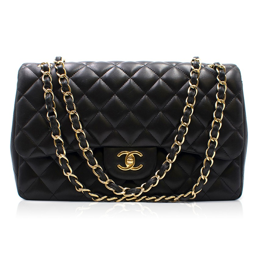 Chanel Black Quilted Lambskin Jumbo Double Flap Bag
