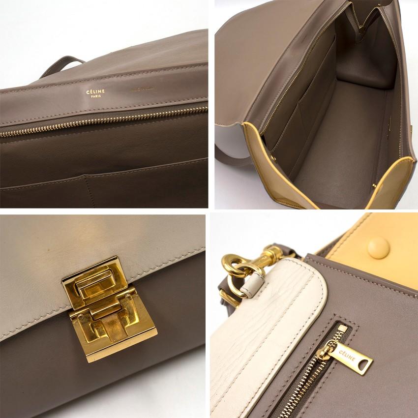 6cbd03236d Celine Beige Extra Large Tricolour Trapeze Bag